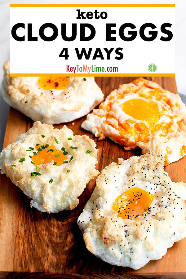 Cloud eggs four ways - chive, chili pepper, everything bagel, and cheddar.