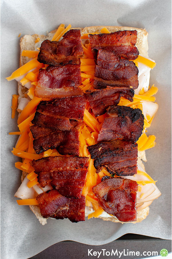 Rolls layered with ranch, chicken, cheddar, and bacon.