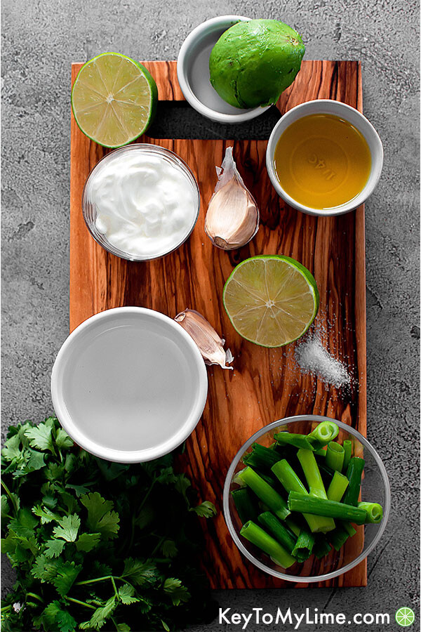 Cilantro lime sauce ingredients on board.