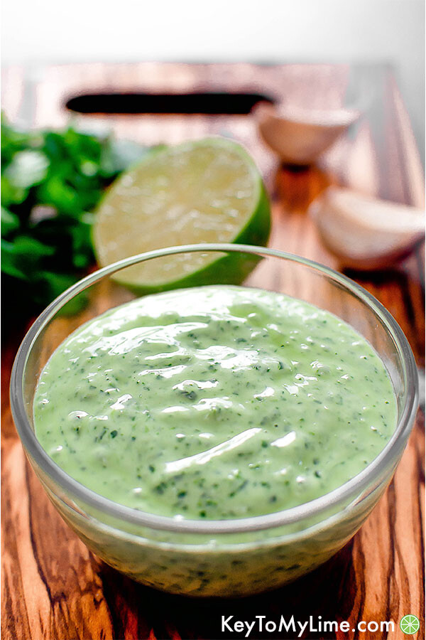 Cilantro lime sauce in a bowl.