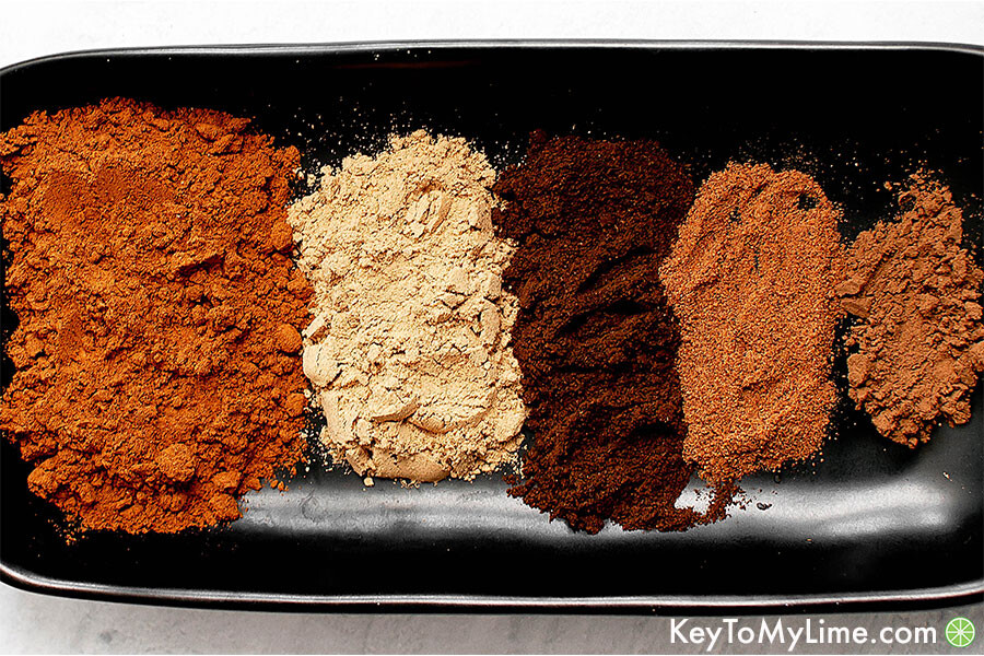 The ingredients for DIY Pumpkin Pie Spice on a plate.
