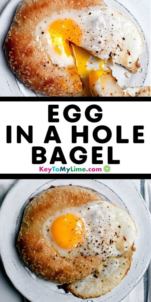 Two images of an egg in a hole bagel.