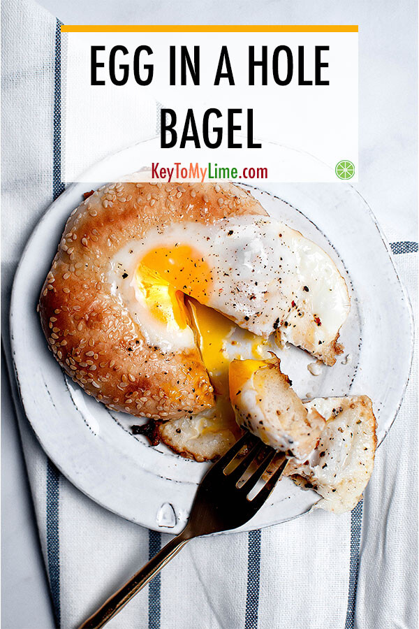 Egg in a hole bagel Pinterest pin.