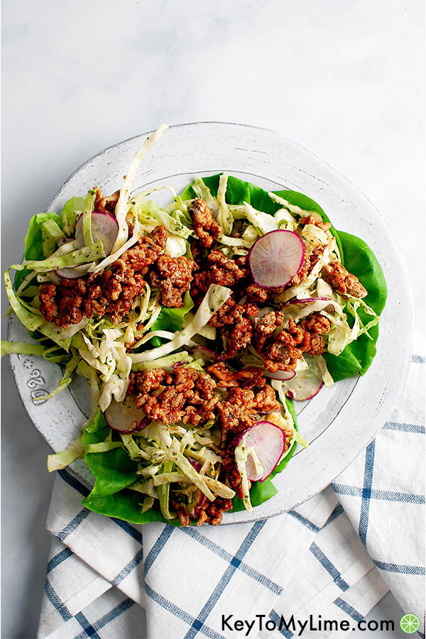 Ground Turkey Lettuce Wraps with Cilantro Lime Dressing.