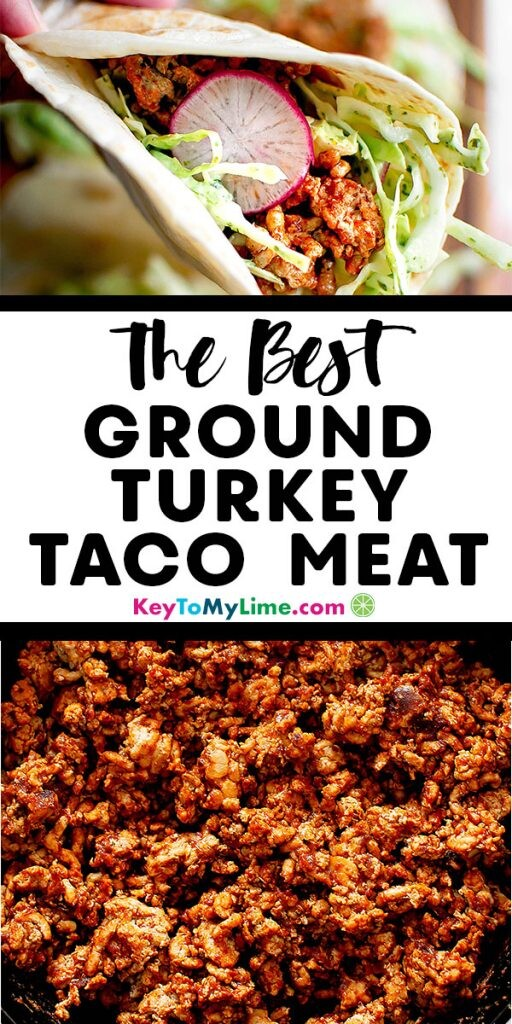 Two images of ground turkey taco meat.