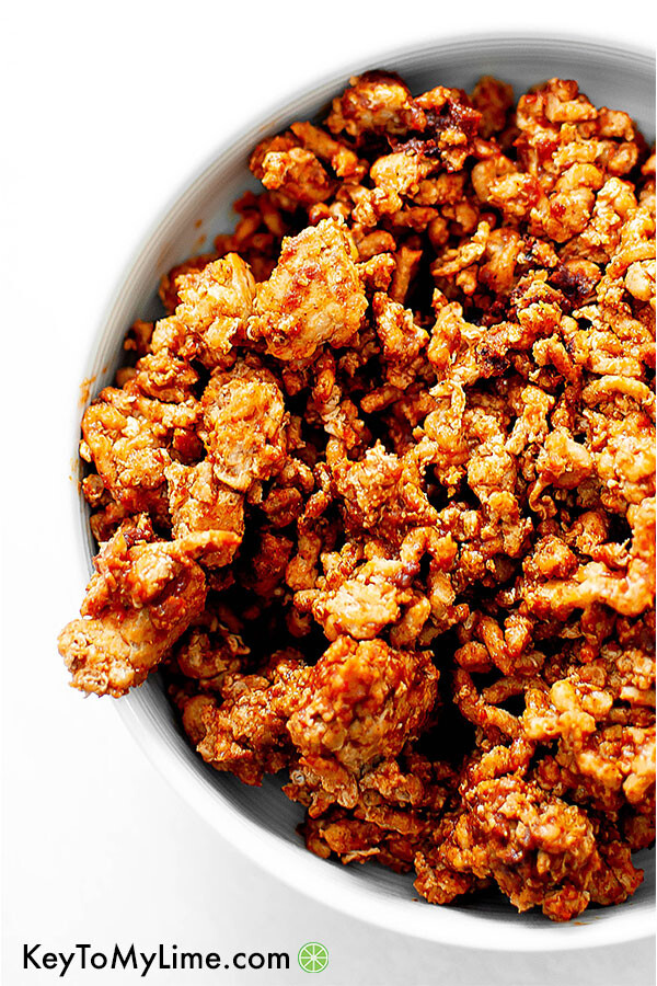 Ground turkey taco meat in a bowl.