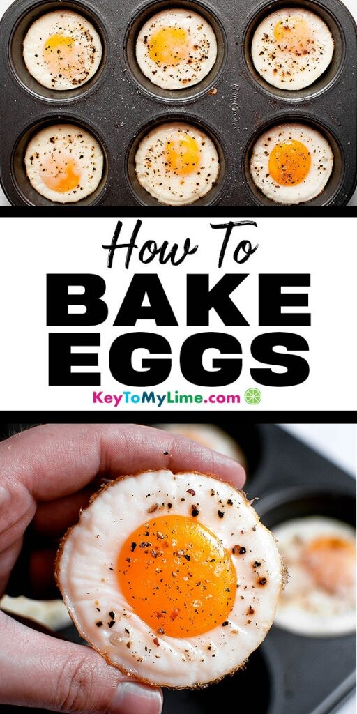 Two images of eggs baked in a muffin tin.
