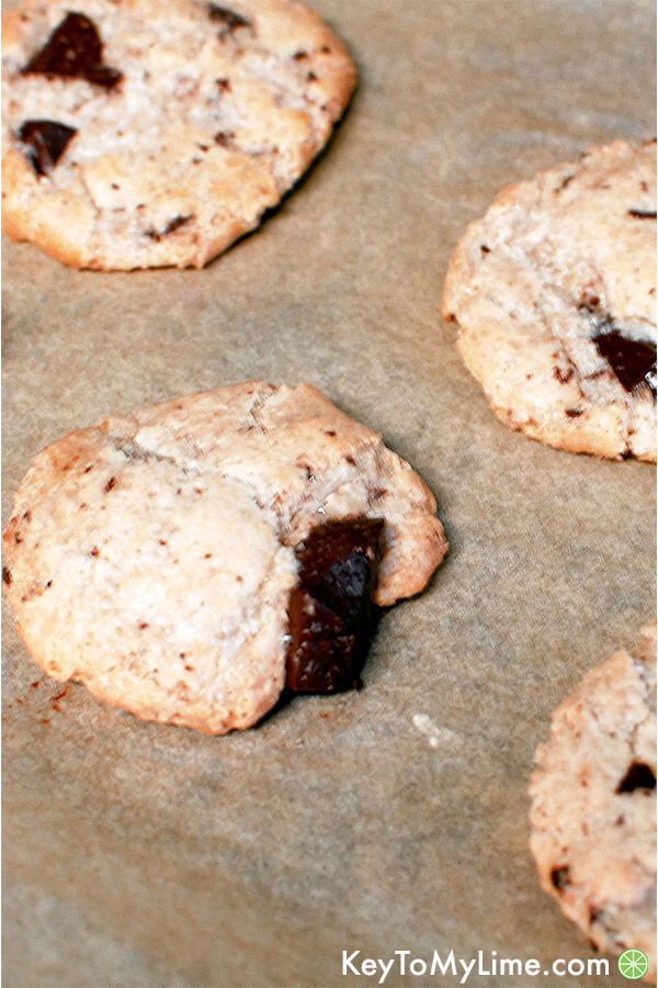 Oat flour cookies in a pile.