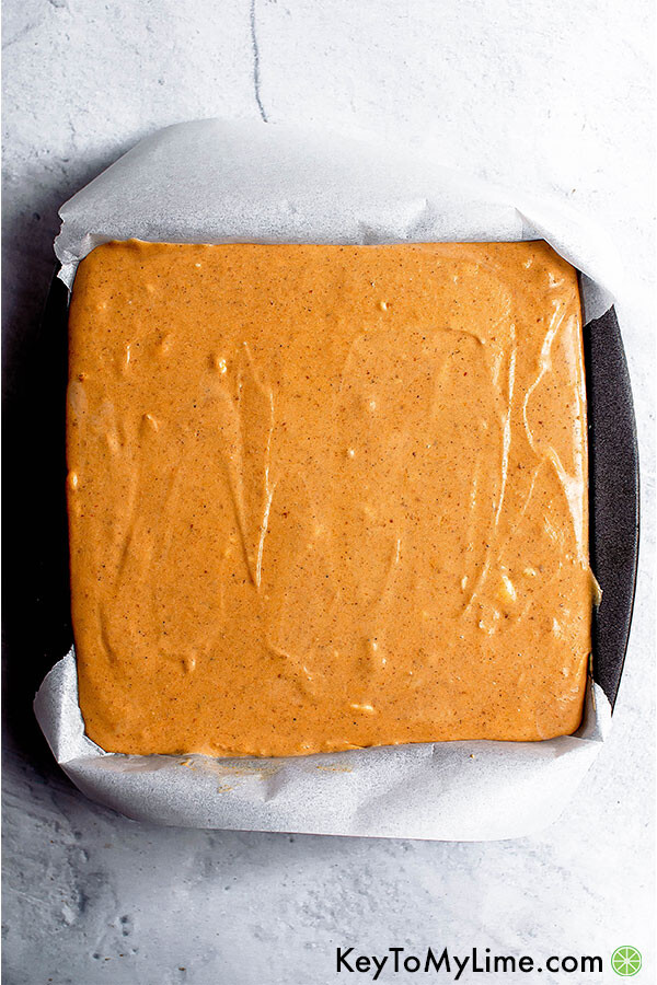 Pumpkin cheesecake ready to go into the oven.