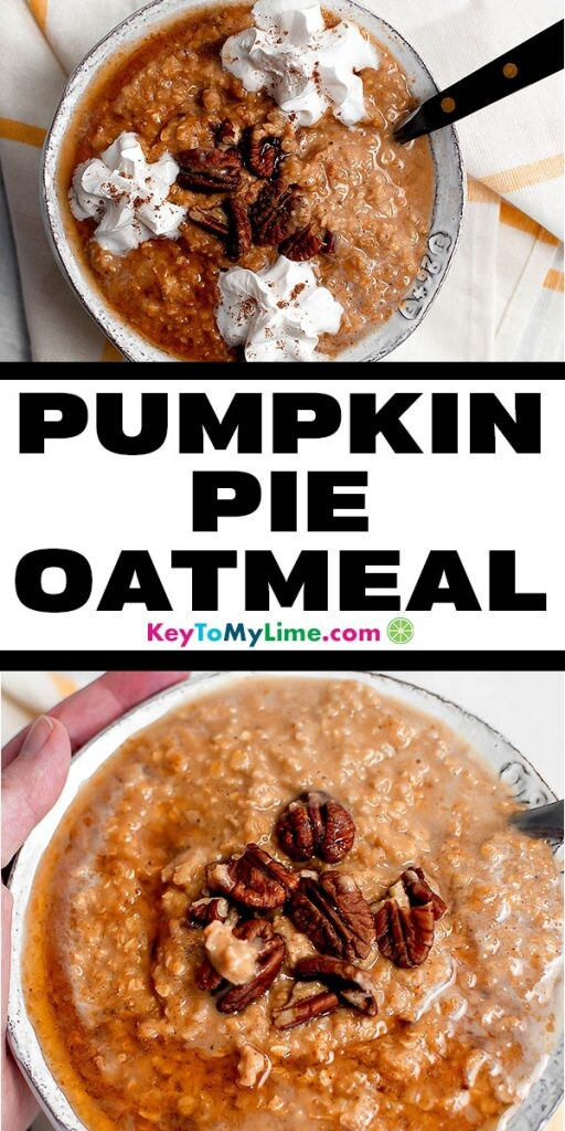 Two images of pumpkin spice oatmeal.