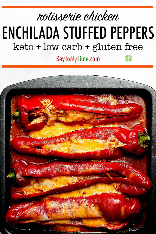 Pinterest pin of rotisserie chicken enchilada stuffed peppers in a pan.