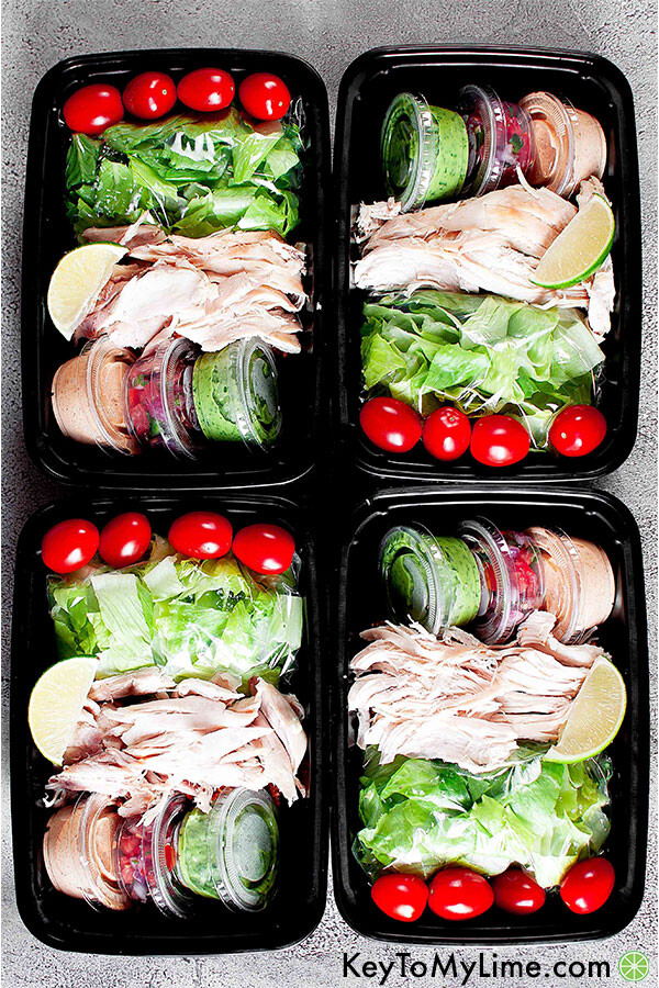 Rotisserie chicken taco salad meal prep.