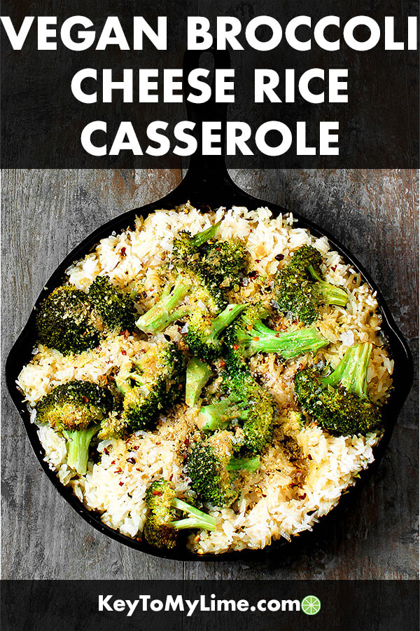 Vegan broccoli cheese and rice casserole in a skillet.
