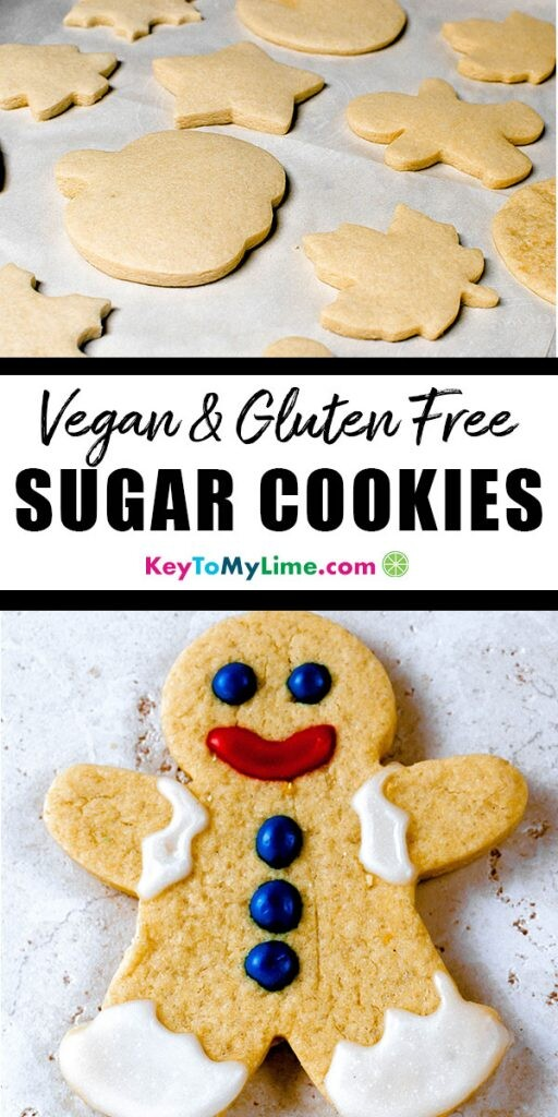 Two images of gluten free vegan sugar cookies for cutouts.
