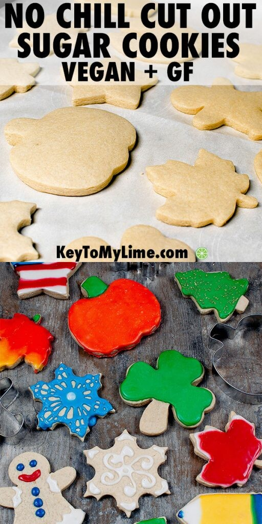 Two images of vegan gluten free sugar cookies.