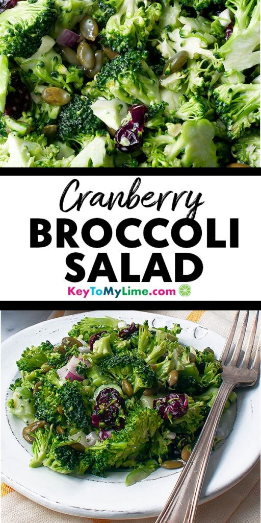 Two images of broccoli cranberry salad.