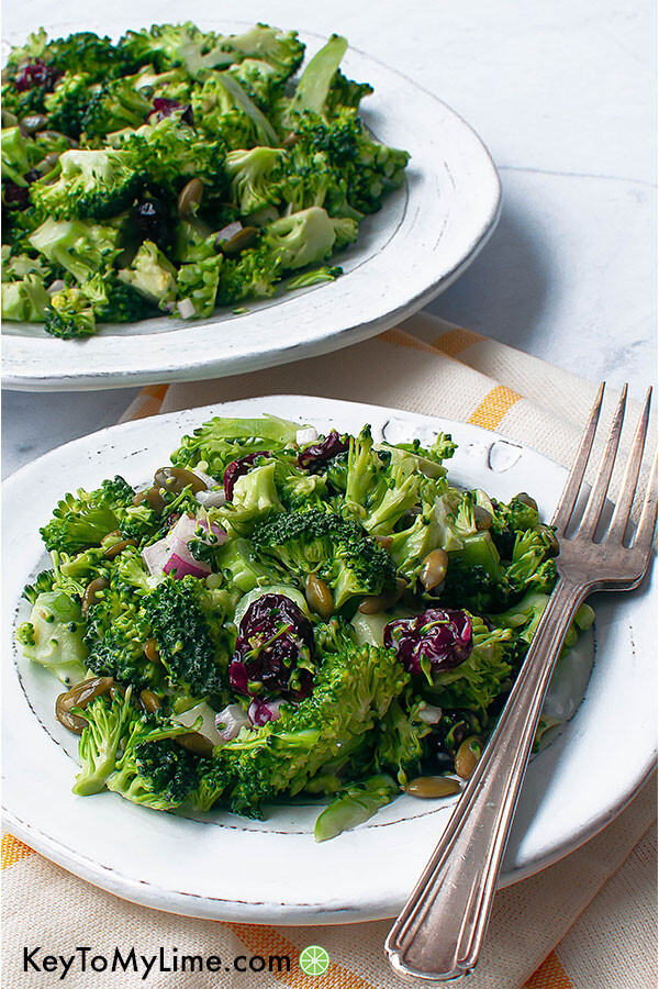 Broccoli cranberry salad on two plates.
