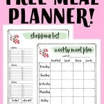 Image of a free weekly meal planner and shopping list.