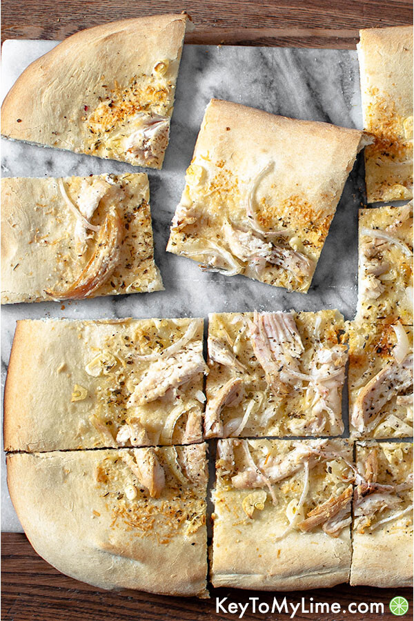 White chicken pizza close up.