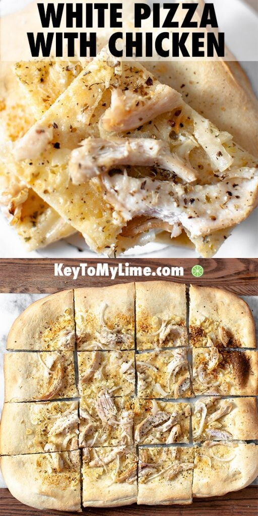 Two images of white chicken pizza.
