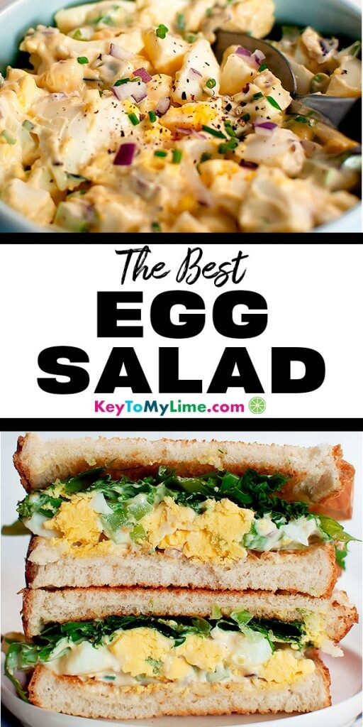 Two images of classic egg salad with celery.