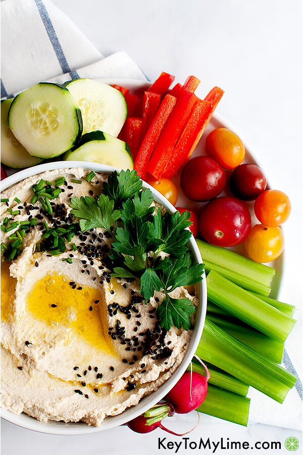 Roasted cauliflower hummus with vegetables.