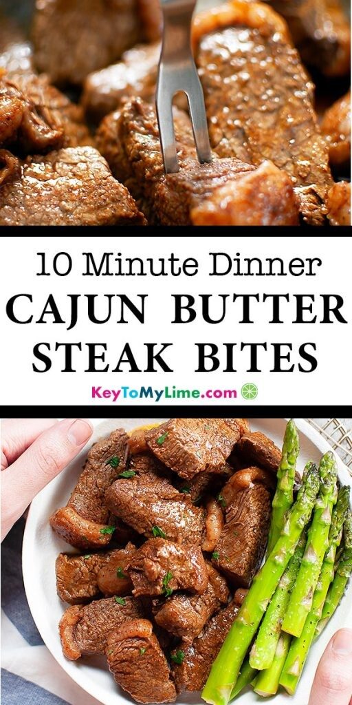 Two images of cajun butter steak bites.