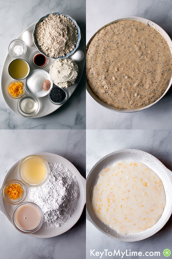 A collage showing the ingredients for the pancakes and the lemon glaze and what it should look like after mixing.