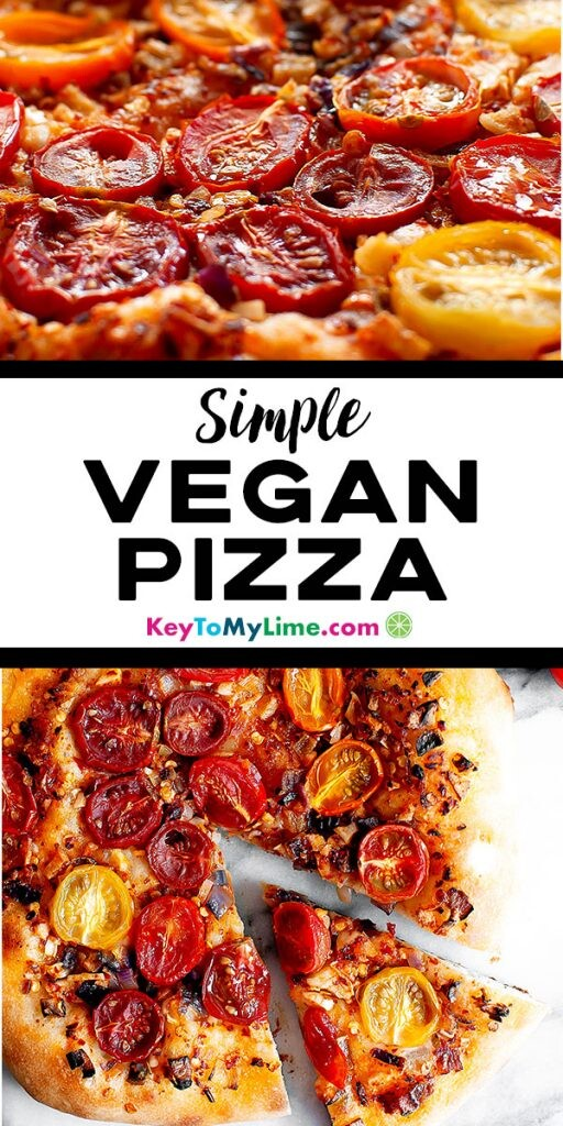 Two images of vegan tomato pizza.
