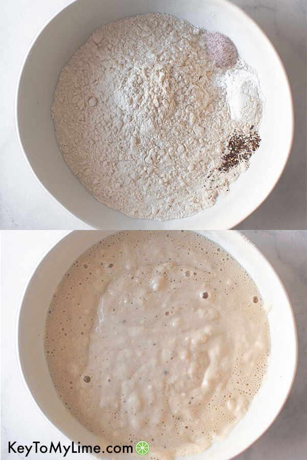 A process shot collage of beer batter.