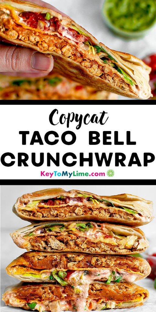 Two images of a copycat Taco Bell Crunchwrap Supreme.