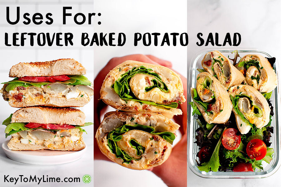 Three images showing examples of how to use leftover loaded baked potato salad.