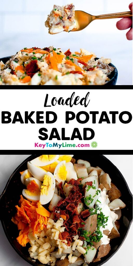 Two images of loaded baked potato salad.