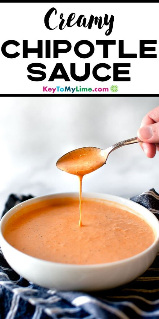 An image of a spoon pouring chipotle sauce into a bowl.