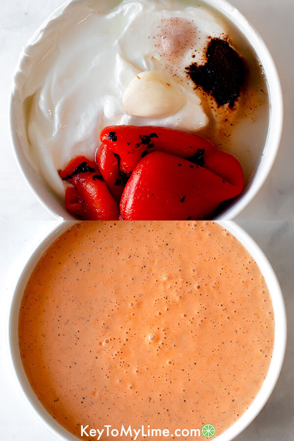 A process collage showing how to make chipotle sauce.