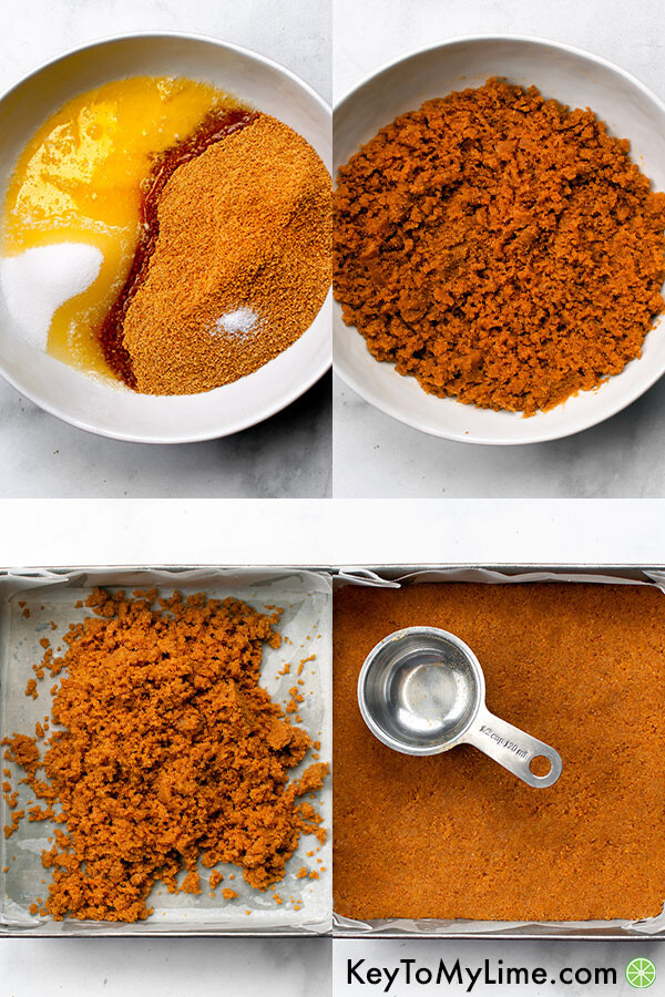 A process collage showing how to make gluten free graham cracker crust.