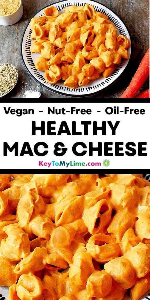 Two images of healthy vegan mac and cheese.