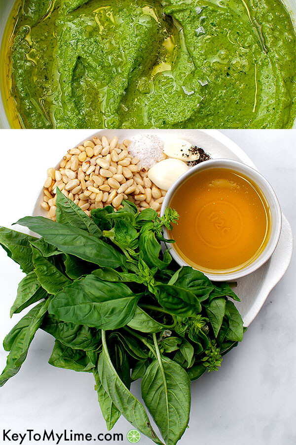 A process collage showing pesto ingredients and pesto blended.