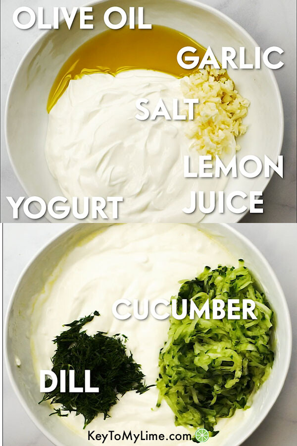 Two images showing labeled tzatziki ingredients in a bowl.