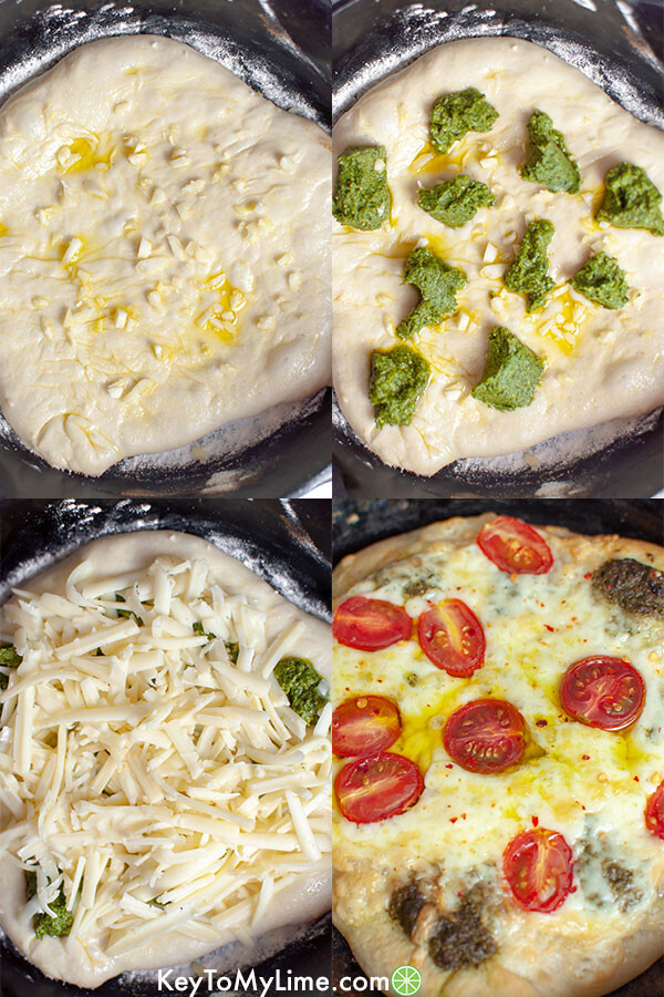 A process image collage showing how to make pesto pizza.