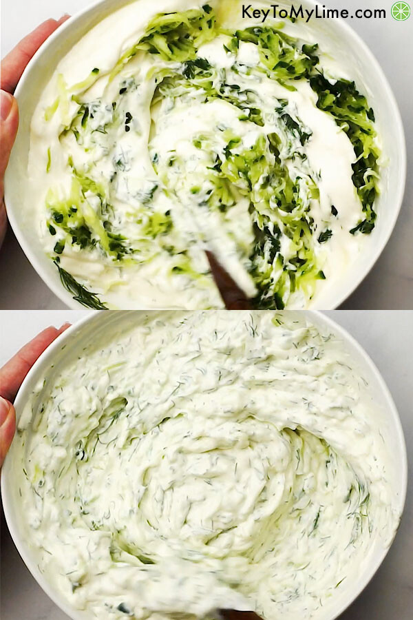 Two images of tzatziki sauce being mixed in a bowl.
