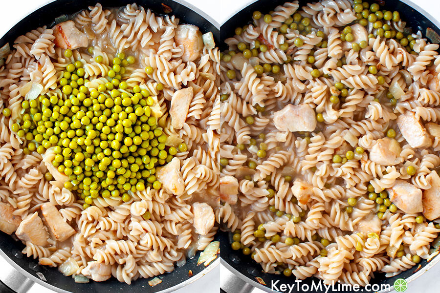 A process collage showing peas being mixed in to one pot pasta.