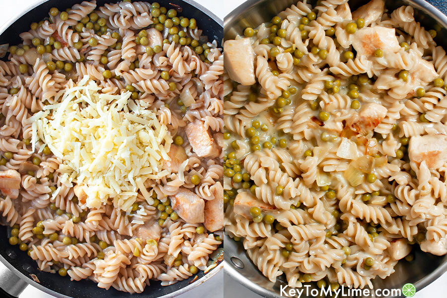 A process collage showing shredded cheese being mixed into pasta to make a creamy sauce.