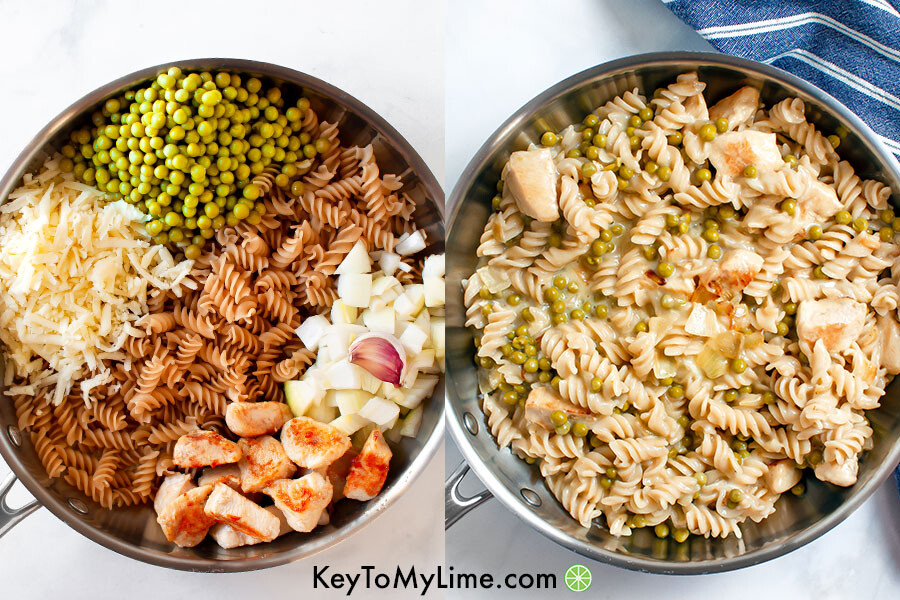 Before and after process collage of pasta with peas.