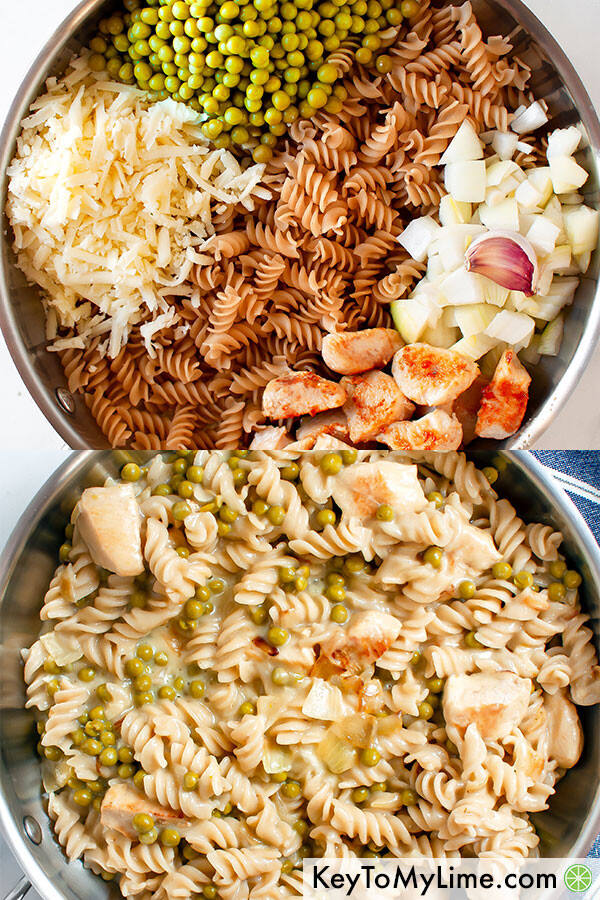 Before and after process collage of one pot pasta.