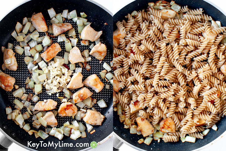 A process collage showing sauteed onions and chicken with dry pasta added in.