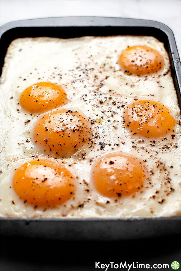 Fried eggs made in the oven.