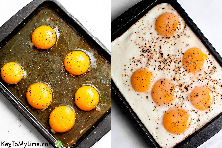 Process collage of sheet pan eggs.