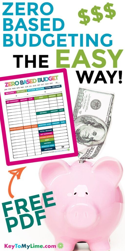 An image of money going into a pink piggy bank with a zero based budgeting printable next to it.