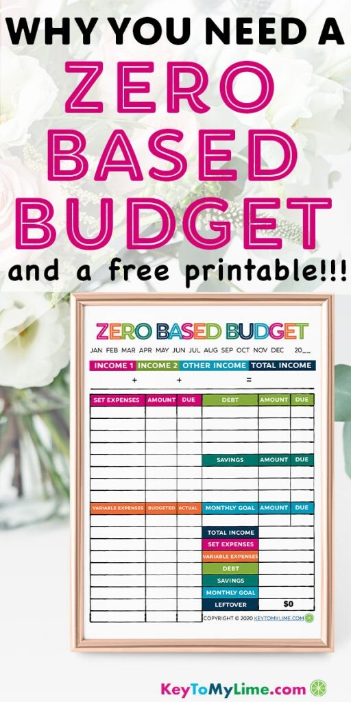 Image of a Pinterest pin for a zero based budget and free printable.